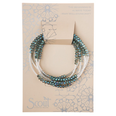 Shimmer Wrap Bracelet/Necklace - Seabreeze/silver
