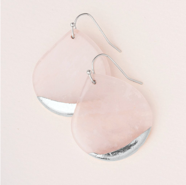 Stone Dipped Teardrop Earring - Rose Quartz/Silver