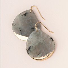 Stone Dipped Teardrop Earring - Labradorite/Gold