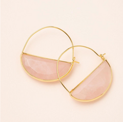 Stone Prism Hoop - Rose Quartz/Gold