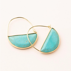 Stone Prism Hoop - Turquoise/Gold