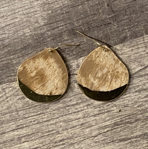 Stone Dipped Teardrop Earring - Fossil Coral/Gold
