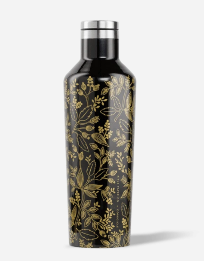 Corkcicle Queen Anne Black 16oz Rifle Paper Canteen