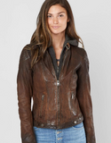 Women's Antique Brown Hooded Leather Jacket