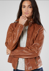 Women's Cognac Leather Jacket