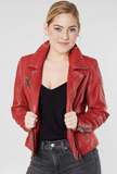 Women's Red Stars Leather Jacket
