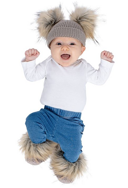 Faux Fur Grey Beanie and Bootie Set 0-12m