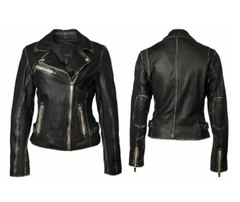 Women's Black/Olive Leather Jacket