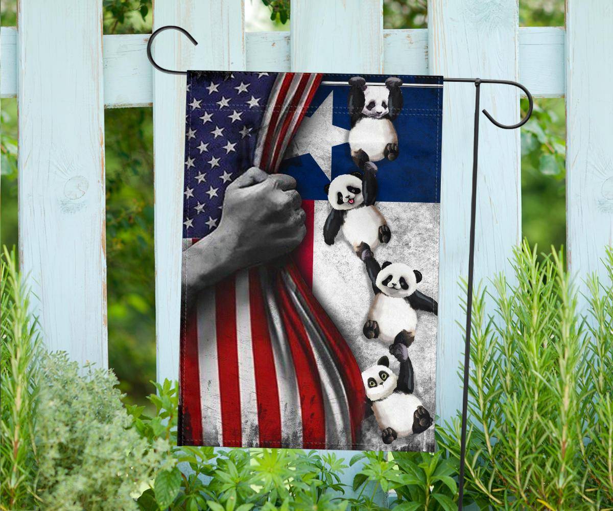 Texas American Flag Vintage Cute Panda Flag 4th Of July Patriotic Gift Prideearthdesign