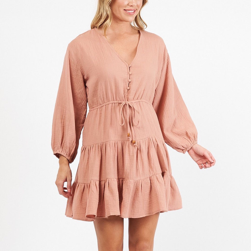 Nora Mini Dress - Dusty Pink