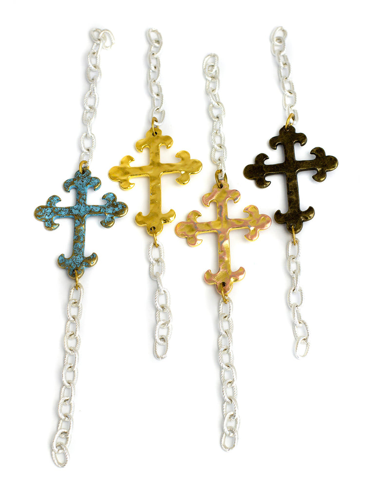 Allison - Silver - Verdigris Cross