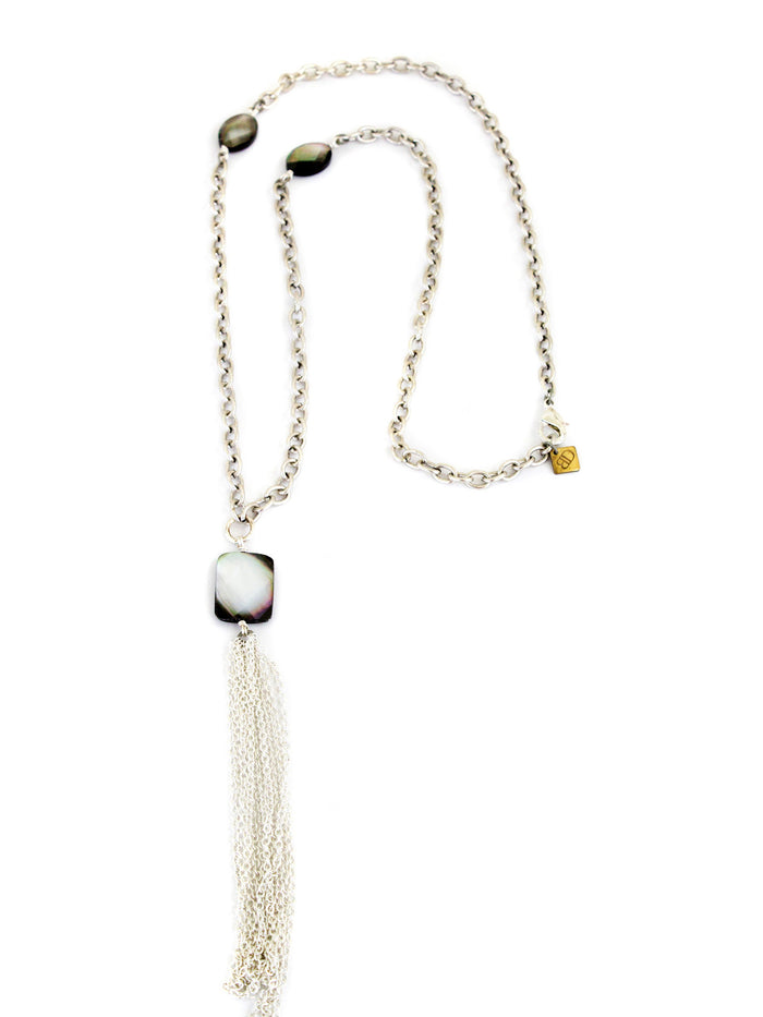 Chandler Long Necklace - Silver With Mother of Pearl