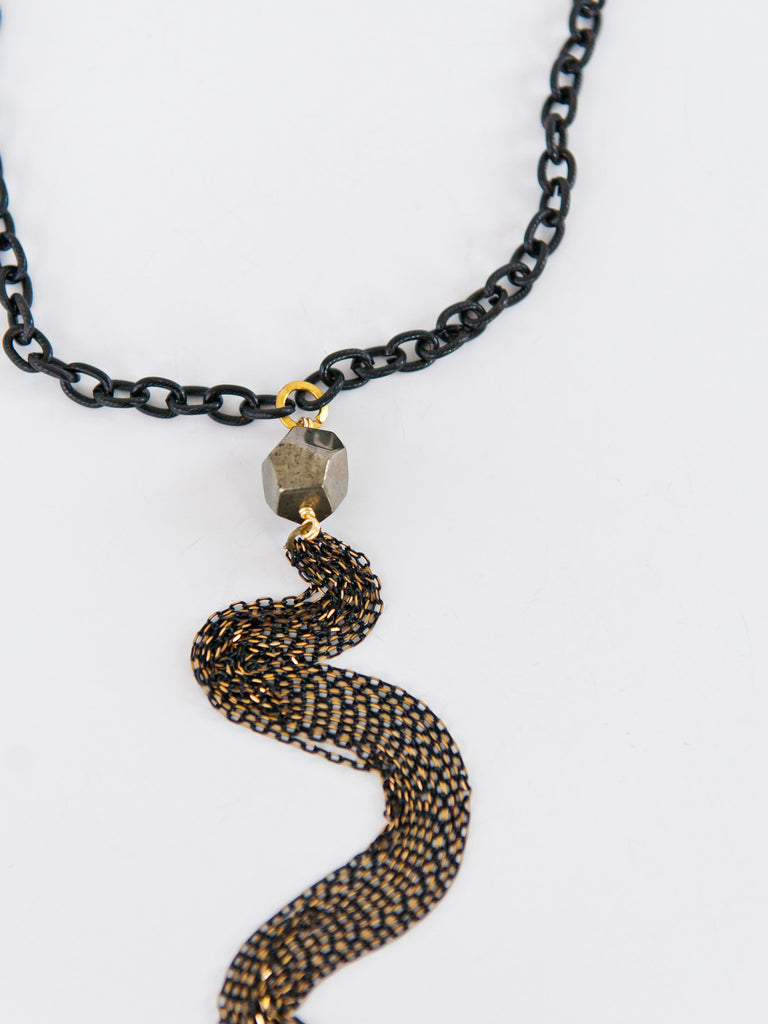 Chandler Short Necklace - Black with Pyrite