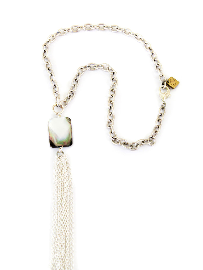 Chandler Short Necklace - Silver With Mother of Pearl