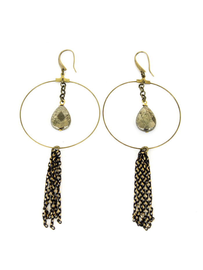 Chandler Earrings - Pyrite