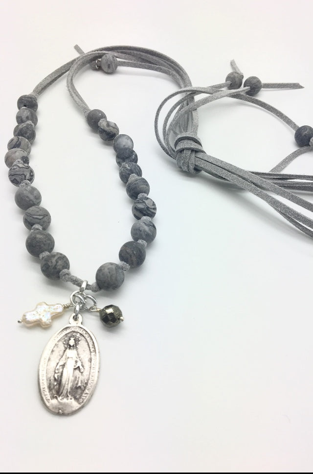 SOLD OUT - Sage Necklace (Grey) w/Angel Token Charm