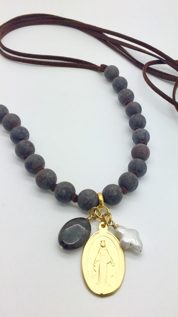 SOLD OUT - Sage Necklace (Brown) w/ Miraculous Mary Charm