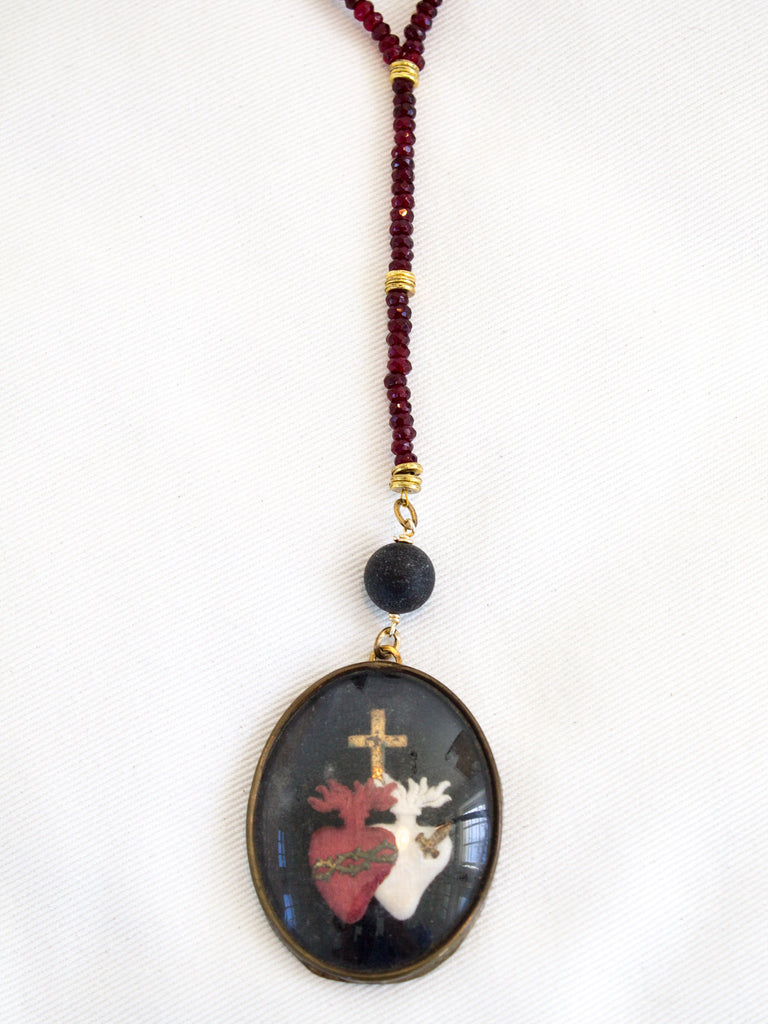 Garnet Sacred Heart Necklace - SOLD