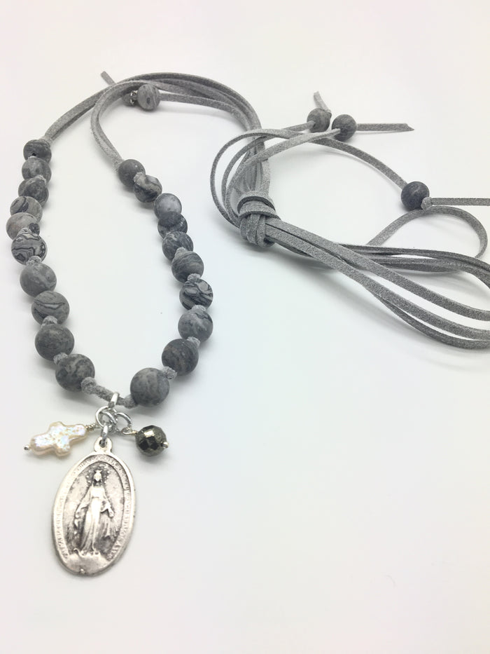 Sage Necklace (Grey) w/ Miraculous Mary Charm