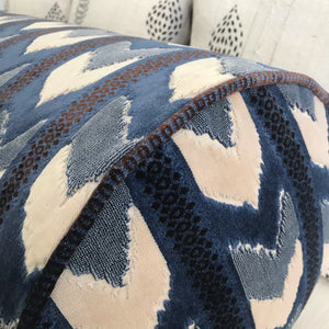 Blue Cut Velvet Bolster Pillow, Multiple Sizes