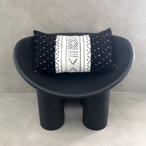 "15x25 Lumbar - Black & White Mudcloth Pillow Cover -  ""Spotted Velvet"""