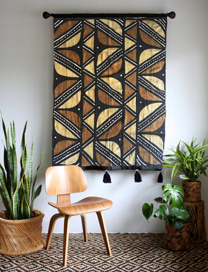 RESERVED FOR KAREN - Black, Mustard and Rust -  Large Mud Cloth Wallhanging with Tassels - Desert Leaves