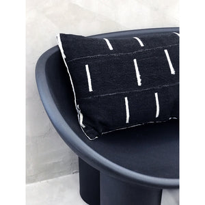 "15x25 African Mudcloth Lumbar Pillow Cover - ""Black with White Bars"""