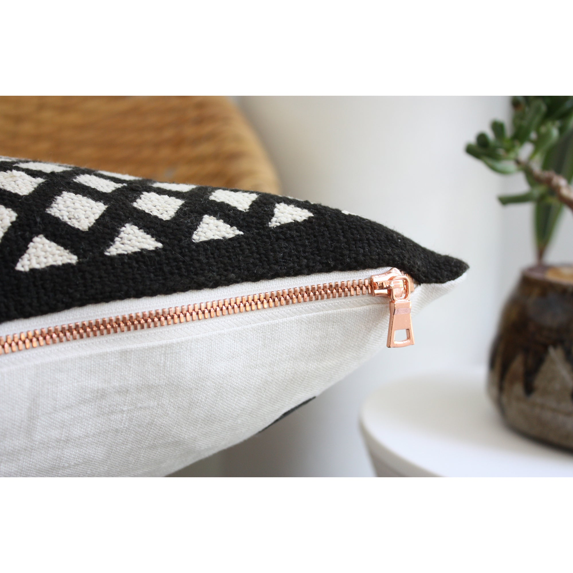 15x25 Lumbar - Black Trellis African Mudcloth Pillow Cover - Copper Zipper