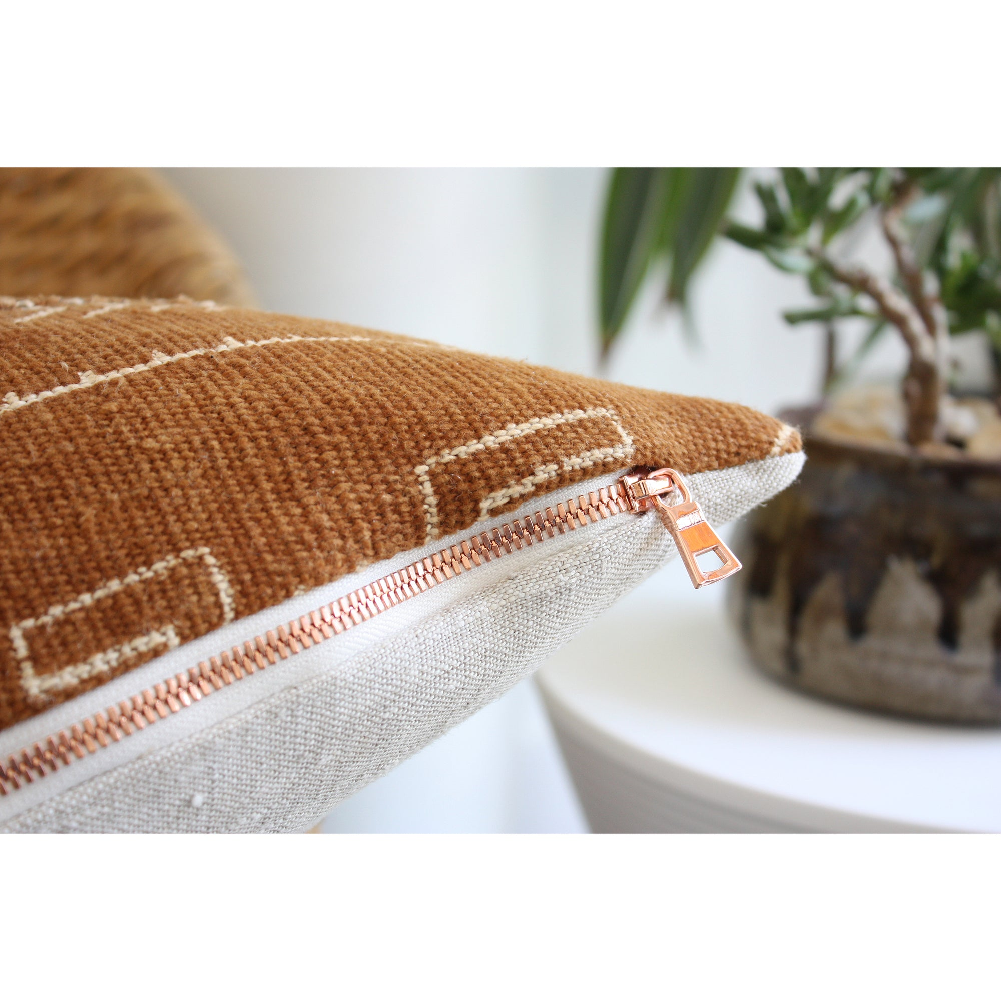 20x20 Square - African Mudcloth Pillow Cover -  Rust Small Geometric, Copper Zipper