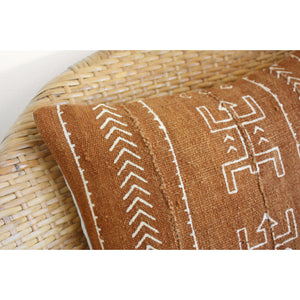 20x20 Square - African Mudcloth Pillow Cover -  Rust Dancers