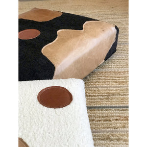 Faux Sheepskin and Real Leather Floor Cushion - Black/Bourbon/Tan