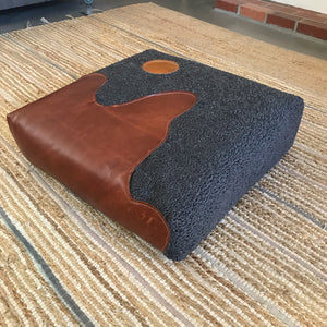 Faux Sheepskin and Real Leather Floor Cushion - Gray/Bourbon/Tan