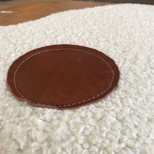 Faux Sheepskin and Real Leather Floor Cushion - Off White/Bourbon/Tan