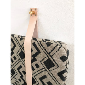 Black & Beige Geometric - Wall Hung Headboard Cushion with Leather Straps