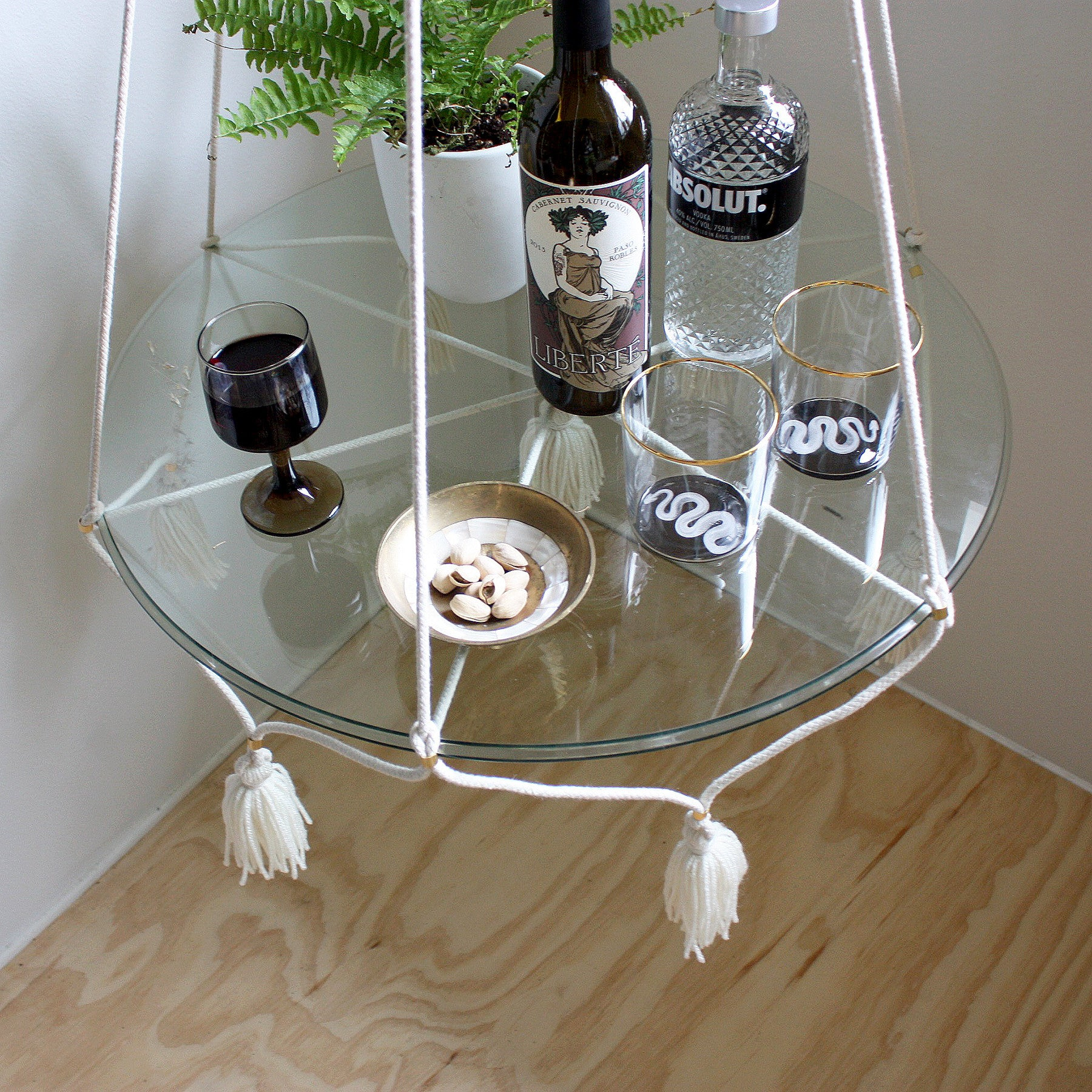 hanging tableplant holder with tassels cream cotton - Hanging End Tables