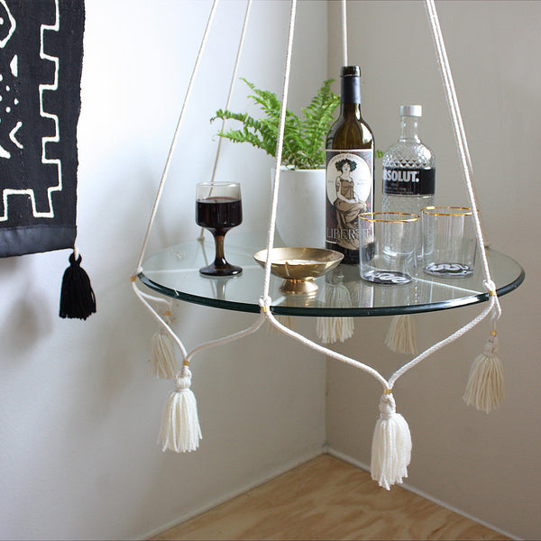 Hanging Table Plant Holder With Tassels Cream Cotton