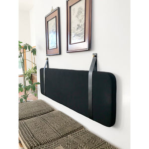 Black Performance Linen - Wall Mounted Headboard Cushion with Leather Straps