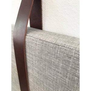Cool Grey Performance Linen - Wall Hung Headboard Cushion with Leather Straps