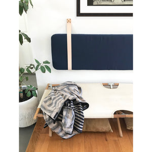Navy Blue Performance Linen - Wall Hung Headboard Cushion with Leather Straps