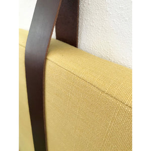 Turmeric Performance Linen - Wall Mounted Headboard Cushion with Leather Straps
