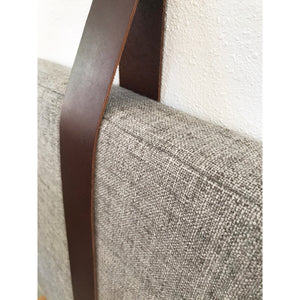 Warm Grey Performance Linen - Wall Hung Headboard Cushion with Leather Straps