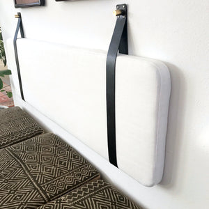 Off White Performance Linen - Wall Hung Headboard Cushion with Leather Straps