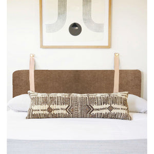 Driftwood Brown Velvet - Wall Hung Headboard Cushion with Leather Straps