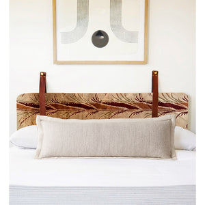 LAST ONE, ANY SIZE - Vintage Pampas Velvet - Wall Hung Headboard Cushion with Leather Straps