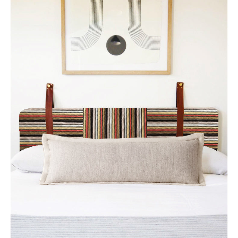 Rust Stripe Velvet - Wall Hung Headboard Cushion with Leather Straps
