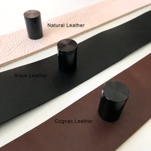 Black Leather Straps for Wall Hung Headboards - STRAPS + HARDWARE