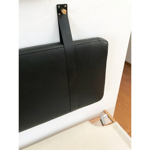 Black Leather Headboard Cushion with Straps