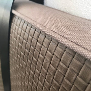 Taupe Basketweave Embossed Leather Headboard Cushion with Straps