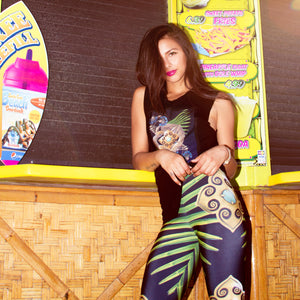 Leggings - Tropical Palm Print, Elastic Waist