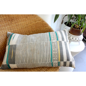 15x25 Lumbar - Jade & Grey Striped Pillow Cover -  Gold Zipper